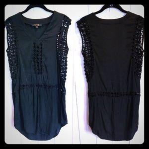 OVI Silk & Lace Tunic Top / Little Black Dress 🖤